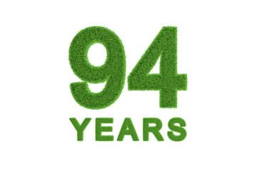 94 Years green grass anniversary number
