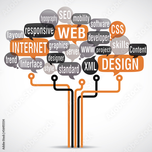 word cloud : web design with electronic circuit