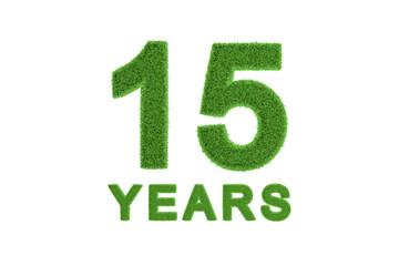 15 Years green grass anniversary numbers