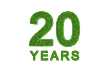 20 Years green grass anniversary numbers