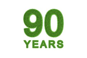 90 Years anniversary in green grass texture