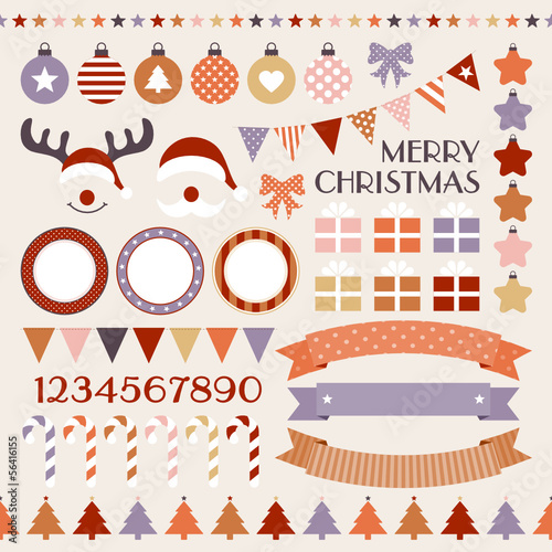 Retro Christmas Set Warm Colors
