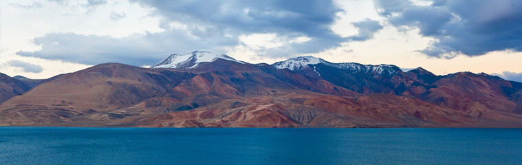 Panorama of Pangong Tso Lake in Ladakh, North India