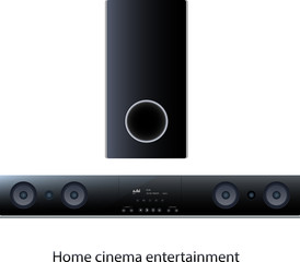 Soundbar panel with subwoofer