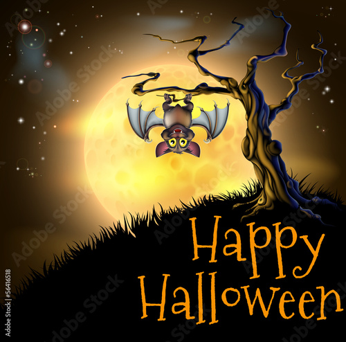 Orange Halloween Vampire Bat Background