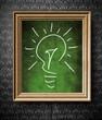 Idea concept light bulb chalkboard in old wooden frame