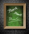 Plan A, Plan B or Plan C chalkboard in old wooden frame