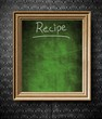 Recipe with copy-space chalkboard in old wooden frame