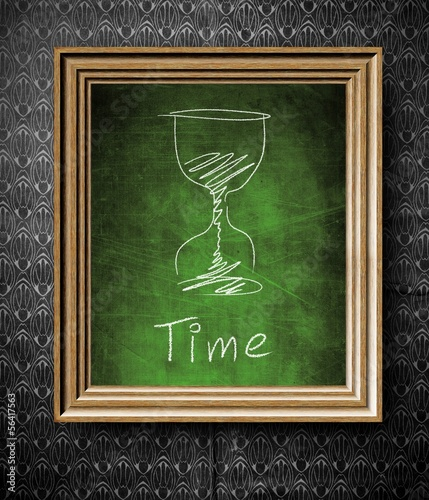 Time concept chalkboard in old wooden frame