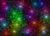 abstract fractal background with lighting flowers
