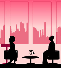 Silhouettes of girls talk scene layered