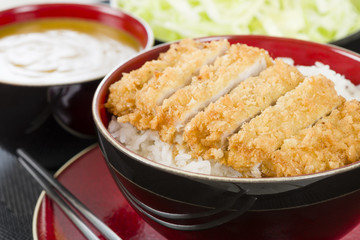 Tonkatsu -  Japanese pork cutlet with rice, cabbage and curry