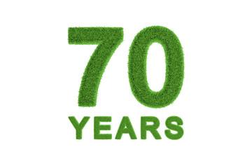 70 Years green grass anniversary number