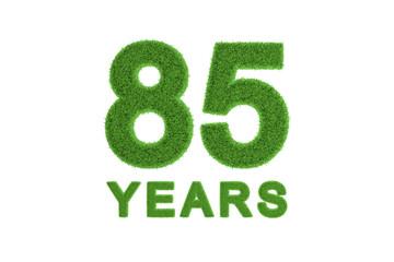 85 Years green grass anniversary number