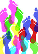 canvas print picture - Fussabdruck, Farbe, Fuss, Fussspuren, Transparent, Hintergrund