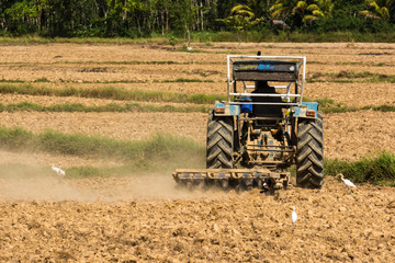 Farmer working on him tractor plowing land in spring