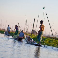 Farmworkers at floating garden on Inle Lake, Myanmar