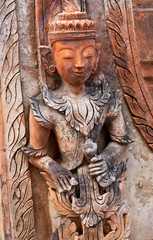 Ancient bas-relief at Takhaung Mwetaw pagoda, Myanmar