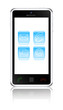 Touchscreen smartphone with support icons. Vector illustration