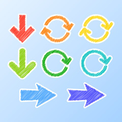 Colorful stylized arrows. Vector illustration