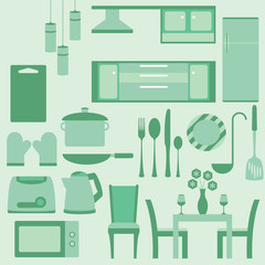 vector set of furniture in kitchenroom