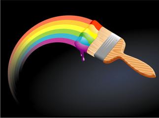 Rainbow brush. Vector.