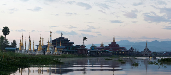 Ancient pagoda and monastery on Inle lake, Myanmar