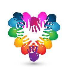Hands together for Love logo vector design