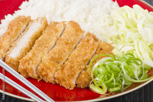 Tonkatsu - Japanese fried pork cutlet with rice and cabbage