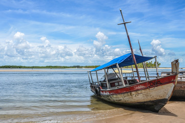 Local rustic sailboat at Boipeba Island, Bahia, Brazil. South Am