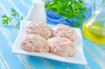 raw meat balls on plate