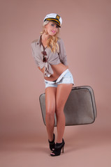 Pin-up Girl With Suitcase