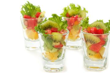 Closeup Fresh fruit salad in glasses