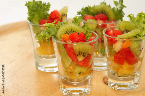 Fresh fruit salad in glasses