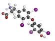 Thyroxine molecule, chemical structure. Thyroid gland hormone
