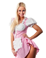 beautiful woman in tiroler or oktoberfest style