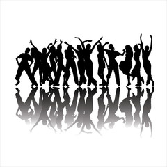 Black dancing silhouettes