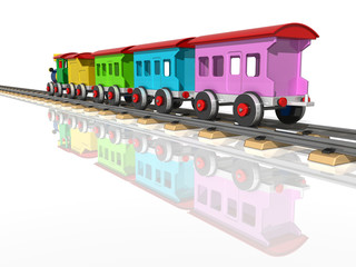 Toy train with multicolored carriages. 3d render