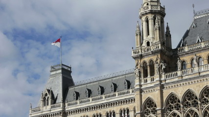 Vienna flag fluttering in the city hall