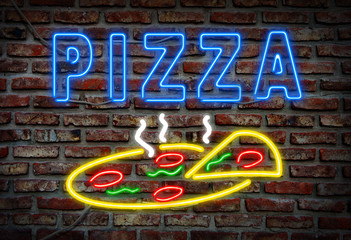 Glowing neon pizza sign