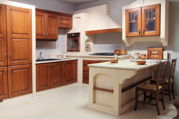 Full view of a classic wooden kitchen