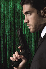 Half portrait of a seductive cyber spy