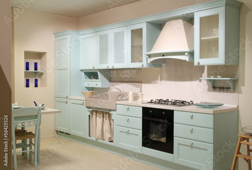 Country style cyan kitchen
