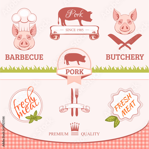 porc, pig, animal silhouette, product label packaging design