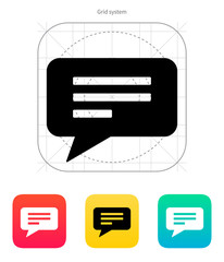 Text bubble icon. Vector illustration.