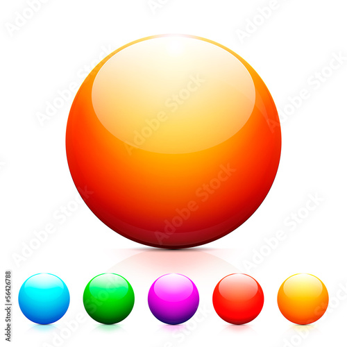 Set of of shiny colored spheres with reflection on white backgro