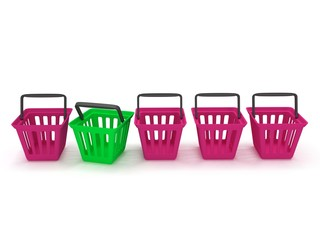 3D rendering of a shopping baskets
