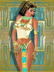 Egyptian princess on abstract background