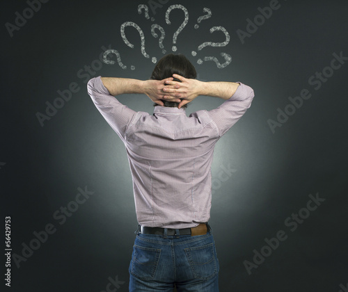 businessman thinking with question mark