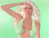Platinum blonde woman against green background
